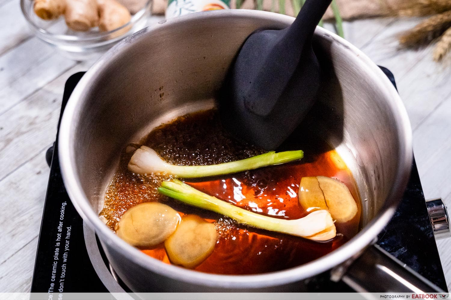 soy sauce and hot ginger oil