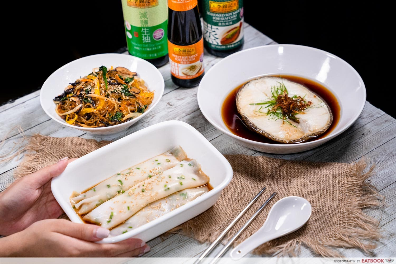 japchae, chee cheong fan, and cod fish