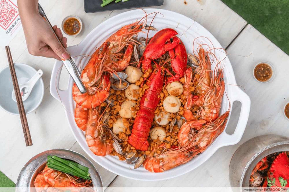 shrimp prawn seafood promo - lobster platter