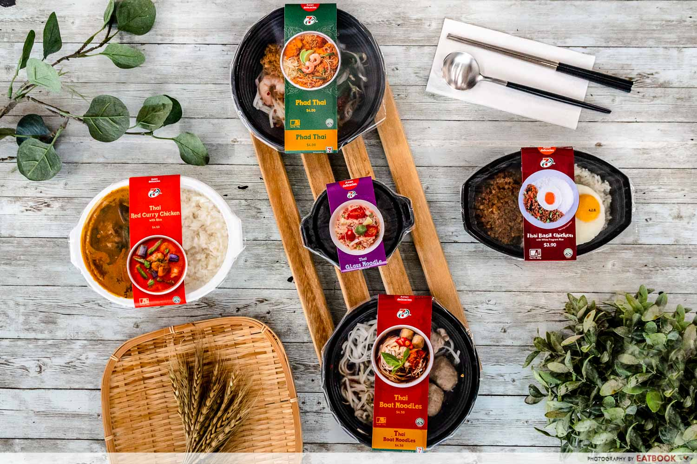 7-eleven thai food - flatlay