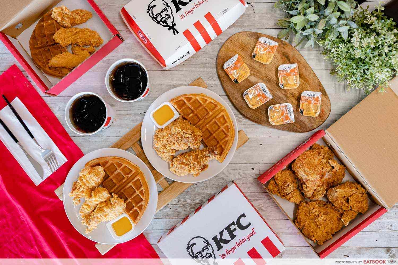 kfc chicken n Waffles flatlay