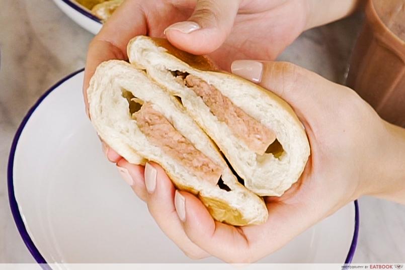chin mee chin - luncheon meat bun