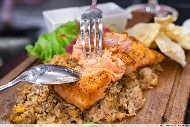 daun bistro - salmon crazy fried rice interaction