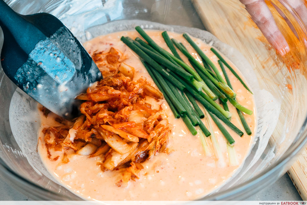 fairprice k gill - mixing kimchi pancake