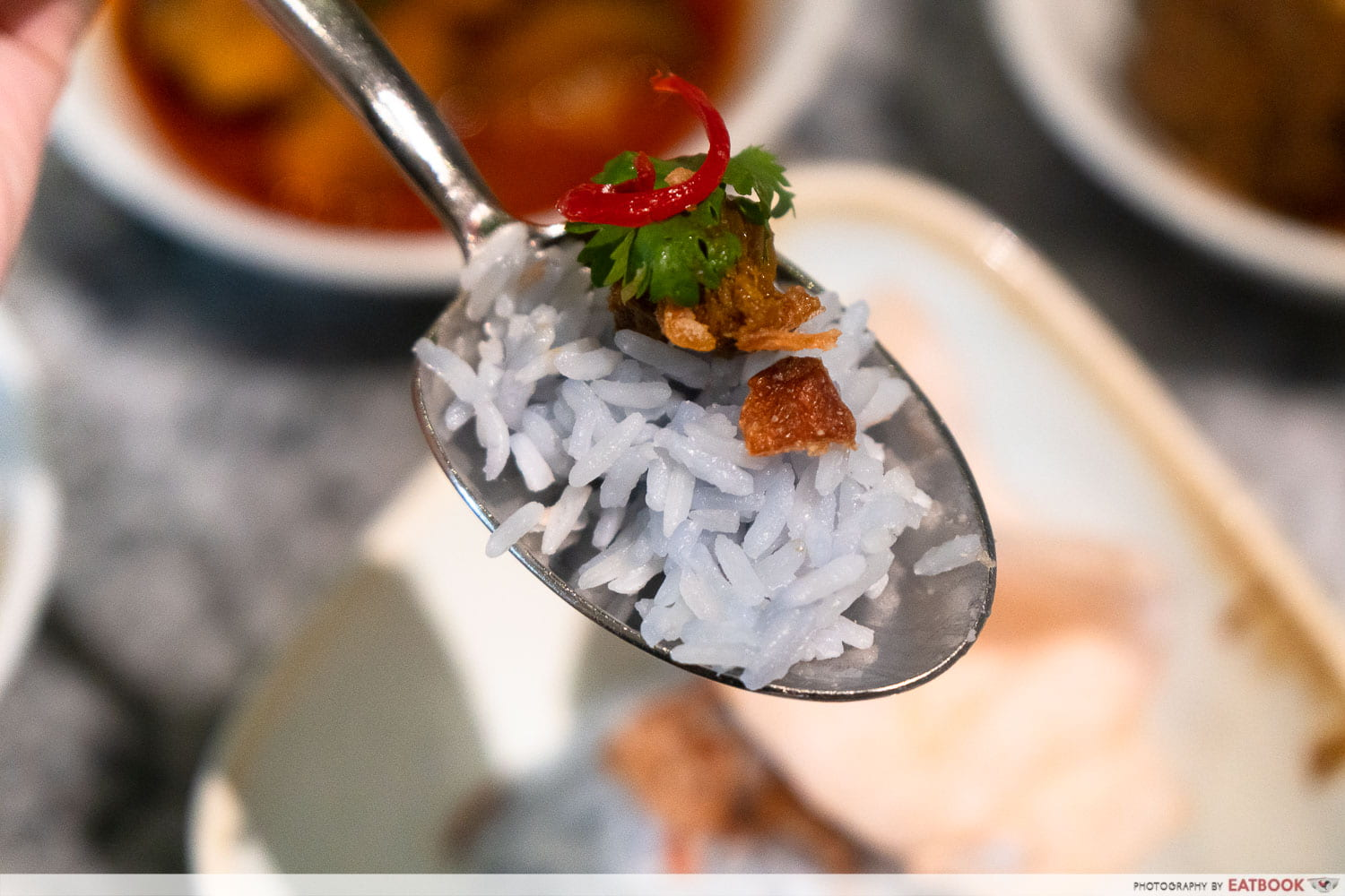 butterfly blue pea coconut rice with beef rendang