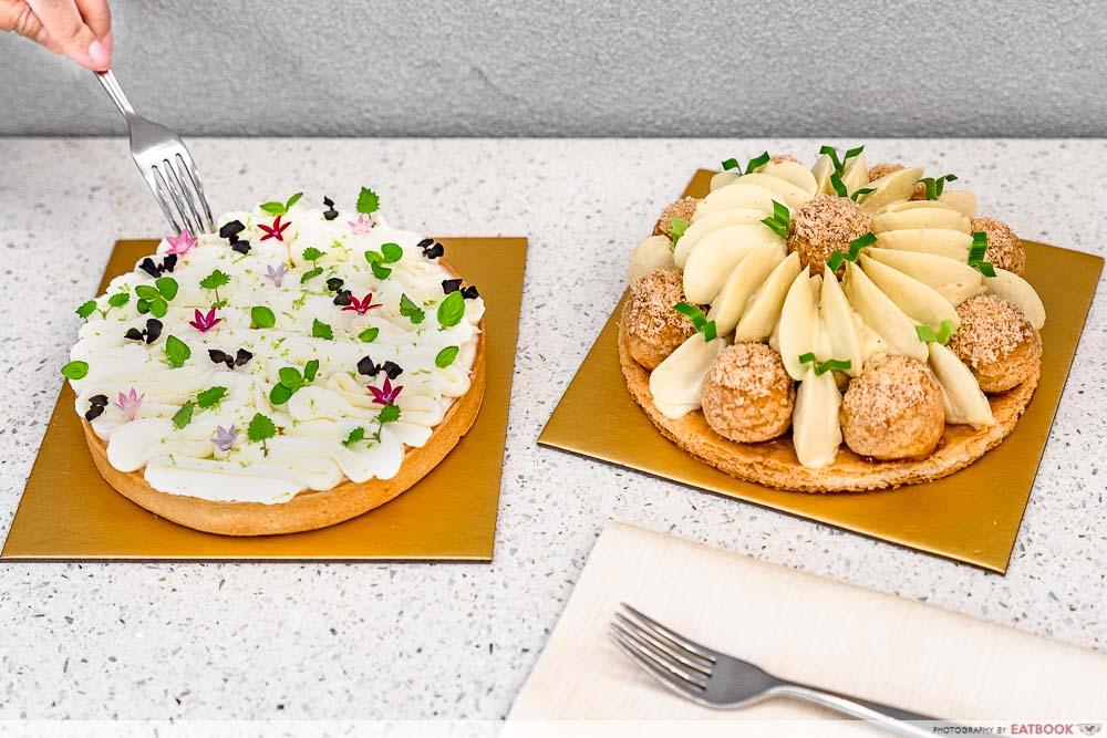 tarte by cheryl koh fusion tarts - coconut pandan cake, lime chantilly tart
