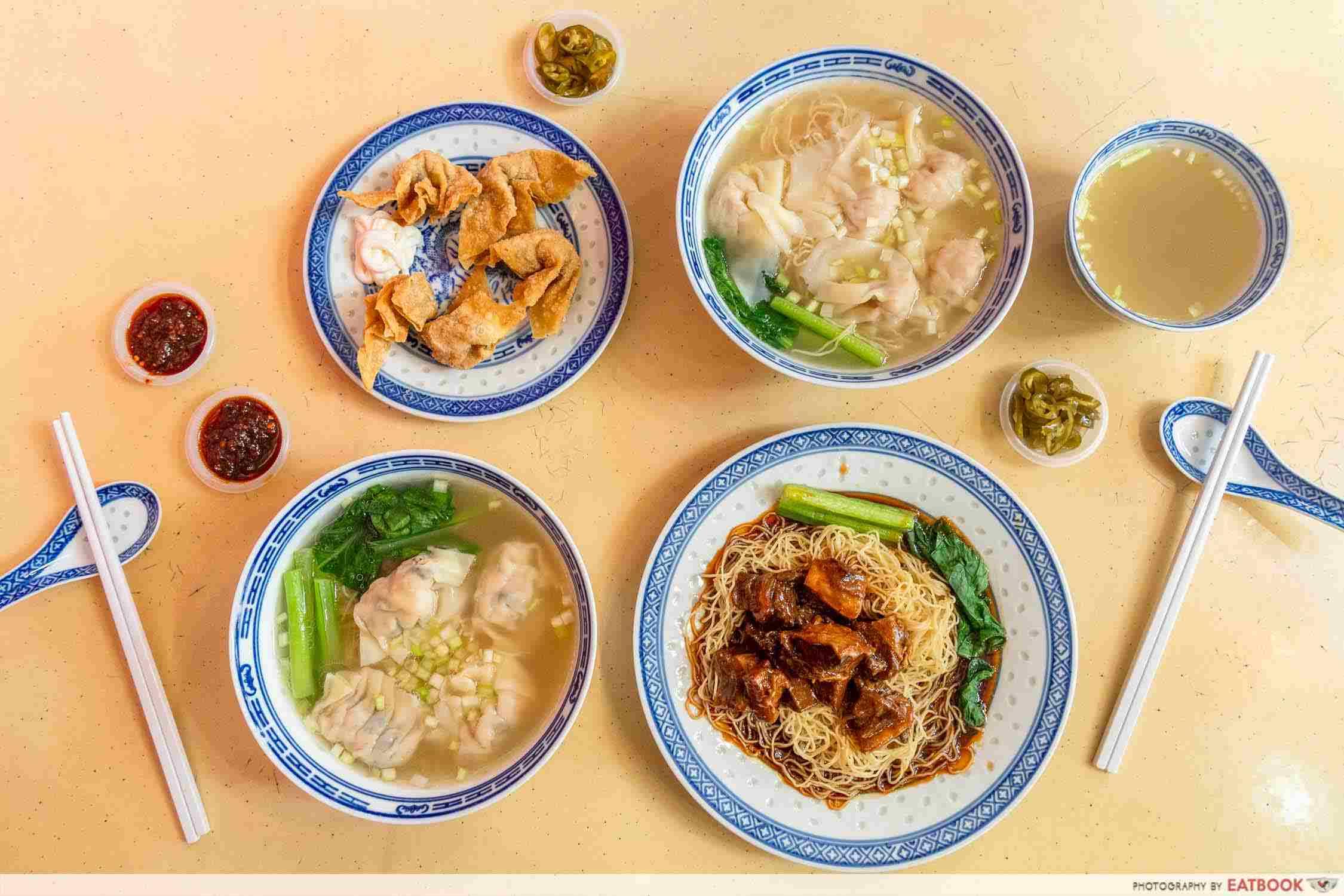 chef kin hk wanton noodle flatlay