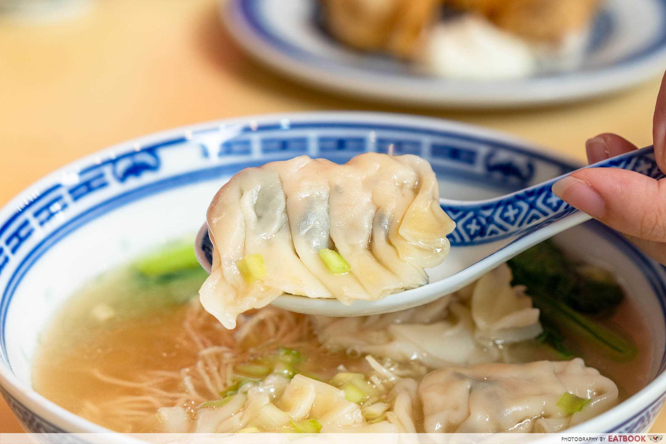 chef kin hk wanton noodle hk dumpling noodle soup detail shot of dumpling