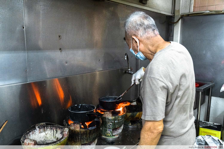 old shifu charcoal porridge - preparation shot