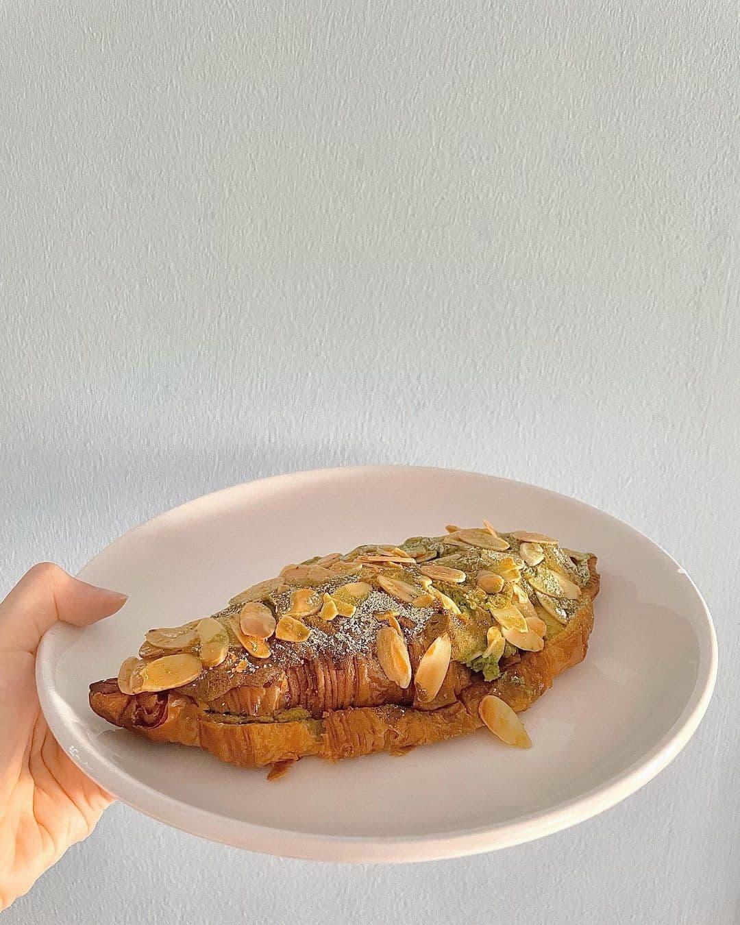 tiong bahru bakery - green tea almond croissant